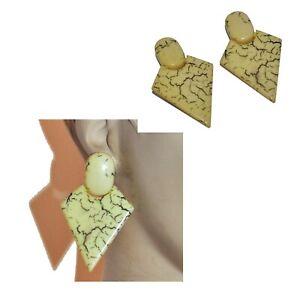 Boucles d'oreilles vintages années 80 clips plastique jaune losange bijou