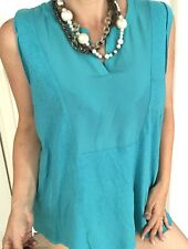 SPORTSCRAFT WOMENS BLOUSE LINEN COTTON TURQUOISE SLEEVELESS SZ XL