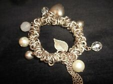 VERY UNUSUAL CHUNKY BRACELET SILVER TONE RINGS HEART PEARL GLASS LEAF DROPS