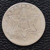 1858 Three Cent Piece Silver Trime 3c Higher Grade VF #17488