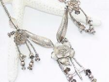 Sterling Silver 925 Bib Collar Etched Flower Beaded Dragonfly Charm Necklace