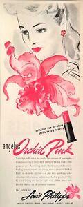 1945 Art Print Ad Angelus Orchid Pink Lipstick Seductive Lip-Allure Beauty