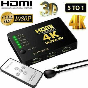 4K HDMI Switch Switcher Selector 5 Port Splitter Hub IR Remote For HDTV PS3 UK
