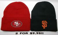READ ALL! San Francisco 49ers / Giants HEAT Set Flat Logos 2 Beanie Knit Cap hat