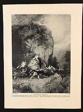Original 1934 Dog Print / Bookplate - WOLVES ATTACKING DEER, Ancestors of Dog