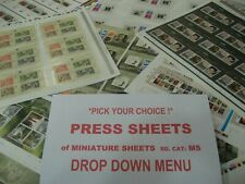 -Pick your choice PRESS SHEET Uncut  MS MINIATURE SHEET Cheaper prices