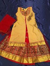 "22"" Age 2 3 Size Lehenga Choli Indian Bollywood Kids Dress Girls Skirt Red Gold"