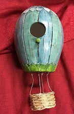 Hanging Air Balloon Birdhouse Resin Garden Decor 5.375x10x5.25 Blue & Green NEW