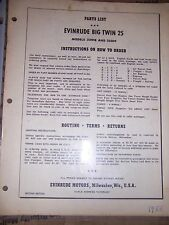1955 Evinrude Big Twin 25 HP 25018 25019 Outboard Parts List MORE IN OUR STORE U