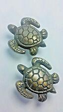 "2 Sea Turtle Brass Knobs Ocean Beach Seaside Hardware 1 3/4"" #K10"