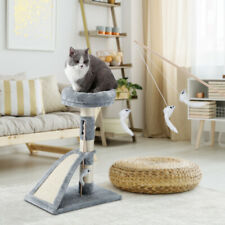 """New listing 26"""" Cat Tree Tower Furniture Kittens Pet with Teaser Scratching Pad Post Grey Us"""