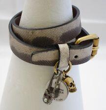 Alexander McQueen-Doble Envoltura de Calavera y pulsera de cuero Camuflaje pasador de seguridad