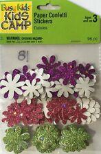 DAISIES GLITTER PAPER CONFETTI Sticker(96pc)Busy Kids•Flowers•Pink •Purple•Green