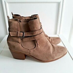 N LOOK Brown Taupe Low Heel Slip on Ankle Boots Buckle Chelsea Sz 6 / 39 E Wide