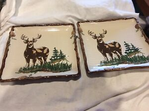 """2 Sonoma """"Into The Woods"""" Deer Square Plate Mint"""