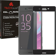 Black TECHGEAR TEMPERED GLASS FULL Coverage Screen Protector for Sony Xperia X