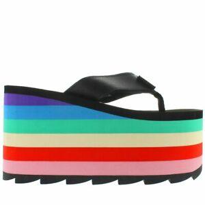 YRU Pixi Rainbow - Black Multi Stripe Mega Platform/Wedge Thong Sandal