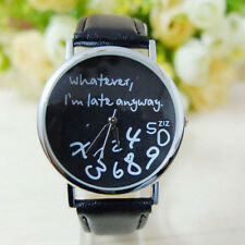 Carefree Rebel Whatever Im Late Anyway Dial Black PU Leather Unisex Wrist Watch