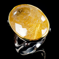 Handmade Natural Rutilated Quartz 925 Sterling Silver Ring Size 7.5/R114231