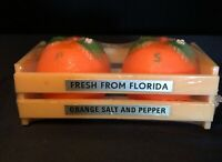 Crate Of Oranges Shaped Salt And Pepper Shakers Florida Souvenir Vintage