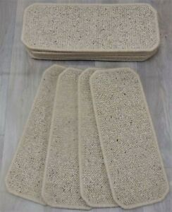 14 Stair Carpet Pads Treads  #  Natural Wool Loop Berber  # 20cm x 50cm #