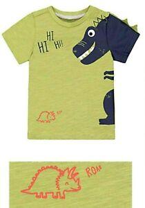 BNWT Mothercare Baby Boys Toddler Green Blue Dinosaur Summer Cotton T-Shirt Top