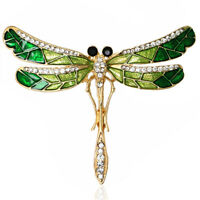 Animal Dragonfly Brooch Rhinestone Crystal Fashion Jewelry Accessory Pins LD