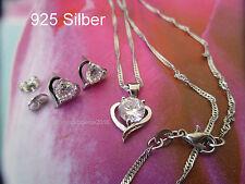 925 Silber-Schmuck Set- Herz mit funkelnden Zirkon,-  Kette mit Ohrstecker!