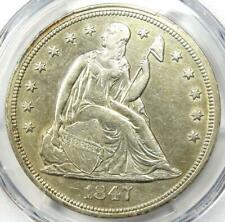 1847 Seated Liberty Silver Dollar $1 - Certified PCGS XF Detail (EF) - Rare Coin