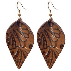Engraved Cameo Embossed Brown Genuine Leather Leaf Teardrop Dangle Drop Earrings