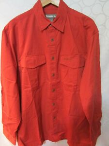 SIMMS Red Cotton Button-Up Fishing Shirt Size L