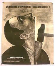 ROLAND TOPOR – AMNESTY INTERNATIONAL- AFFICHE ORIGINALE – TRES RARE – CIRCA 1970