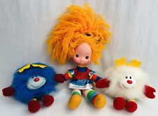 Vintage 1983 Rainbow Brite Lot 10' Doll w/ White Sprite & Blue Plush Shaker