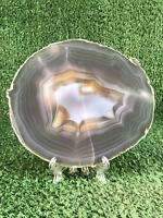 """6"""" Agate Slice Geode Polished Slab Crystal Quartz Brazil Selected W/ Stand"""