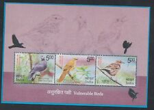 India 2017 Vulnerable Birds Miniature Set of 3 Stamps
