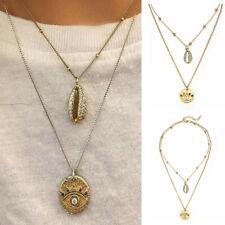 2019 Boho Women Crystal Shell Multi-Layer Choker Pendant Chain Necklaces Jewelry