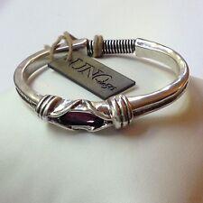 NWT Uno de 50 Silver-Plated Amethyst Rigid Bangle Bracelet Size 6.5 $179