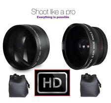 2-Pcs Hi Def Telephoto & Wide Angle Lens Set For JVC Everio GZ-R560 GZ-R460