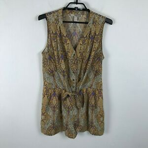 Forever 21 Contemporary Romper Shorts Size L Purple Brown Ikat Print Sleeveless
