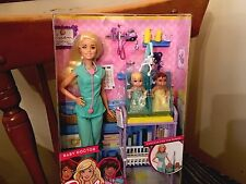 Blonde Barbie Baby Doctor with 2 babies NRFB Mattel Career New