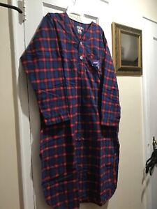 SIORO Mens Plaid Cotton Pyjama Tops Flannel Nightshirt Loose Pajama Nightwear