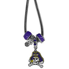"""east carolina pirates licensed college euro bead necklace with 18"""" chain"""