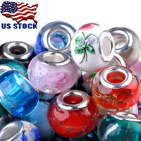 100pcs/Lot Mixed Handmade Murano Lampwork Glass Beads Fit  European Bracelet DIY