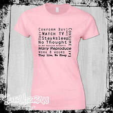 World Order Stay Asleep Women's TShirt They Live Truth is Rising Anti NWO Obey