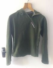 Skunk Funk Womens Dark Green Hoodie Slim Fit Sweater Asymmetric Zip Small S