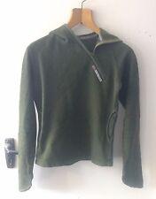 Skunk Funk Womens Dark Green Hoodie Slim Fit Sweater Asymmetric Zip Small S