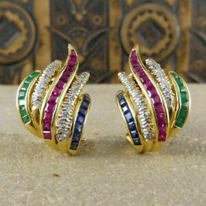 2Ct Princess Cut Red Ruby Diamond Huggie Hoop Earrings 14K Yellow Gold Finish