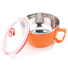 Stainless Steel Color Bowl With Handle and Lid For Ramen Noodle Udon Korean Dish