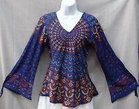 Indian Womens Ladies Flower Power Hippie Boho Shirt Top Rayon BLUE