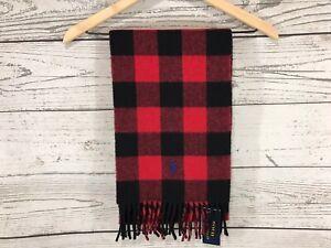 Polo Ralph Lauren Men Red Black Buffalo Plaid Reversible Wool Blend Scarf NWT